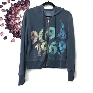 Gap Vintage Look Peace Love 1969 Graphic Hoodie
